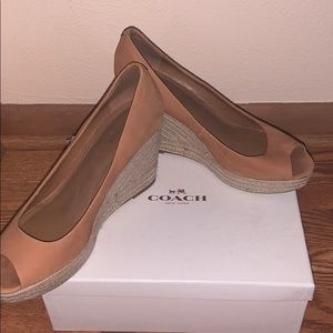 Used Authentic Coach Wedge Heel Sandal Shoes